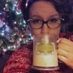 Drinking egg nog out of my Butterbeer mug (one of my favorite cups)